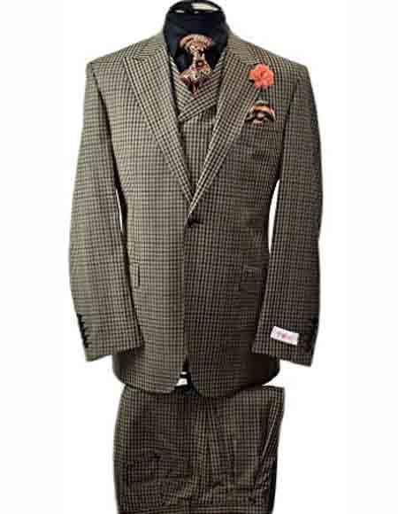 Buy SM2473 Tiglio Rosso Men's Italian Peak Lapel Olive 1 Button Vest 100% Wool Wide Leg Suit