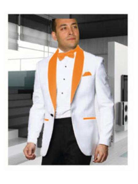 Buy SS-B106 Mens 1 Button White Tuxedo Orange Shawl Lapel Dinner Jacket Blazer Sportcoat