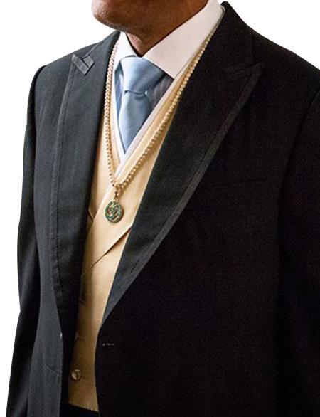 Mens Black  1 Button Peak Lapel Suit