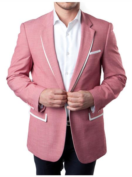 Mens 1 Button White and Coral ~ Rose Gold - Dusty Rose Mix Tux Tuxedo Summer Blazer With White Trim Accents Tuxedo Dinner Jacket