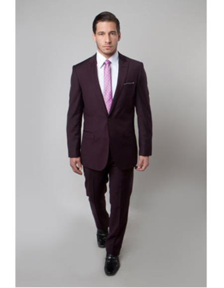 Mens 1 Button Plum ~ Burgundy ~ Wine ~ Maroon ~ Eggplant Slim Fit Peak Lapel Fitted wool Suit