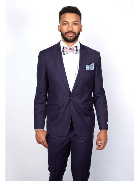 Mens Rossiman Rossi Man Brand Tapered Plum Leg Lower Rise Pants & Get Skinny 1 Button Slim Fit Peak Lapel Suit 100% Wool
