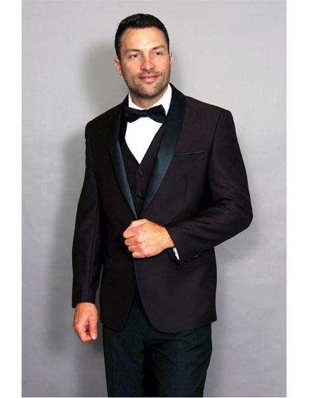 Mens 1 Button Black Shawl Lapel Plum vested Suit