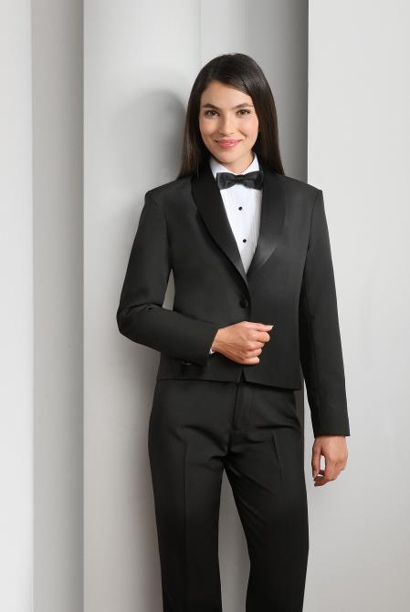 WoMen's Polyester 1 Button Shawl Lapel Black Tuxedo Jacket