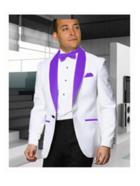 Mens 1 Button White Tuxedo with a Purple Shawl Lapel Dinner Jacket Blazer Sportcoat