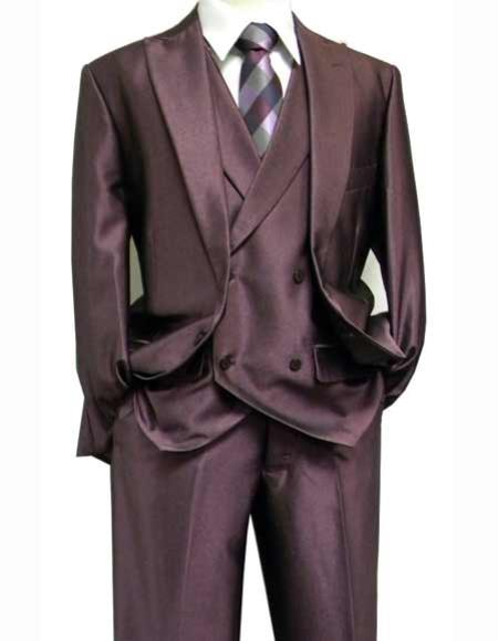 Purple Sharkskin 3 Piece Suit With Matching Vest