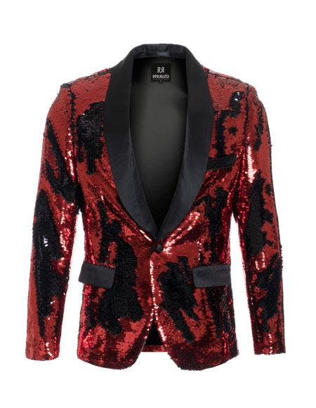 Mens Red ~ Black high fashion sequin Cheap Priced Blazer Jacket For Men