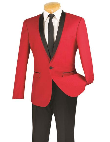 Mens One Button red and black lapel 2 toned tuxedo Dinner Jacket