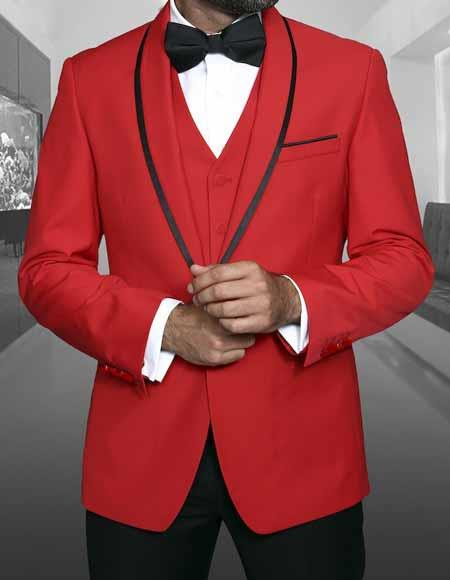 Mens Shawl Lapel With Trim Red Sport Coat Dinner Jacket With Trim 1 Button Cheap Priced Blazer Jacket For Men