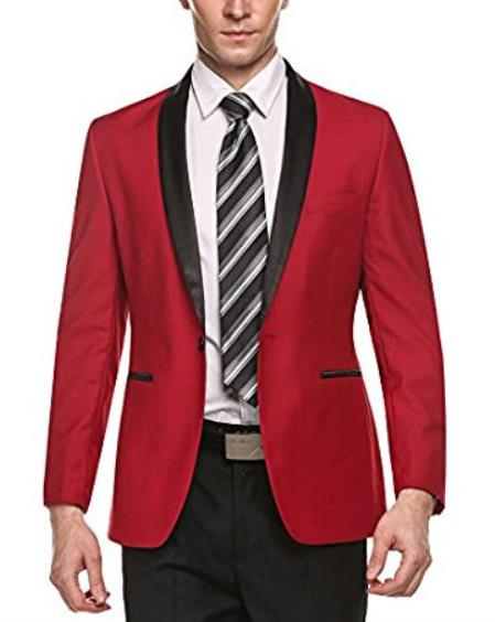 Alberto Nardoni Brand Men's 1 Button Red Shawl Lapel Stylish Casual Slim Fit Coat Cheap Priced Blazer Jacket For Men