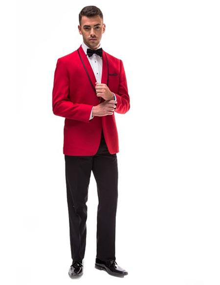 Red And Black Trim Lapel Shawl Tuxedo Suit Jacket & Pants ( Blazer Sport Coat)