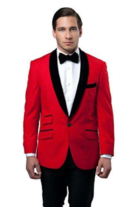 Mens Tazio 1 Button Shawl Collar Velvet Slim Fit Red Cheap Priced Blazer Jacket For Men