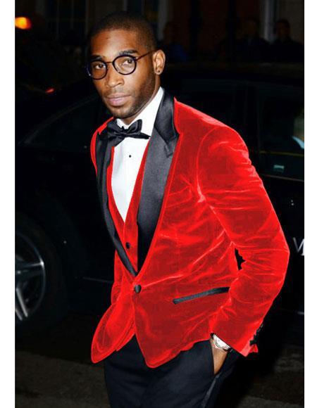Alberto Nardoni Brand Men's Hot Red Velvet Tuxedo - Red Tuxedo