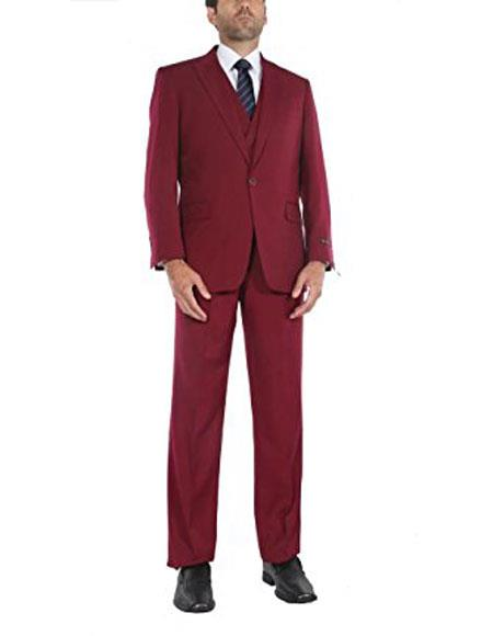 Mens 1 button suits double breasted vest peak lapel Red suits pleated pants