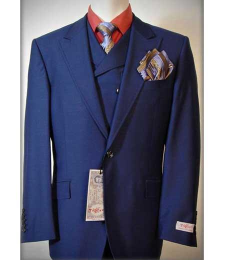 4f8c650318e5 Tiglio Rosso 3 Piece Mens Italian Solid Royal Blue One Button Peak Lapel  Vested Dress Suits