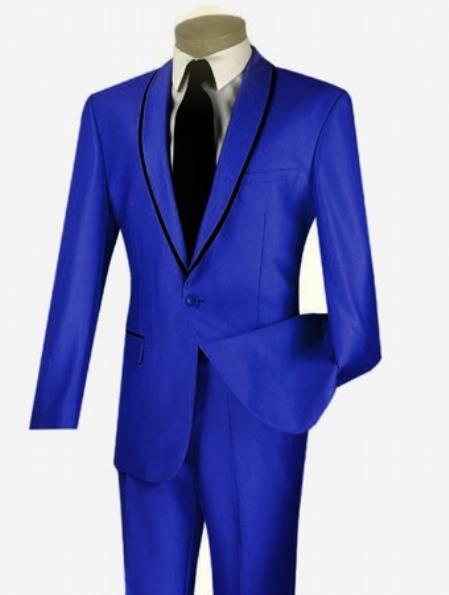 Men's 1 Button Sheened Contrasting Trim Shawl Collar Slim Fit Suit