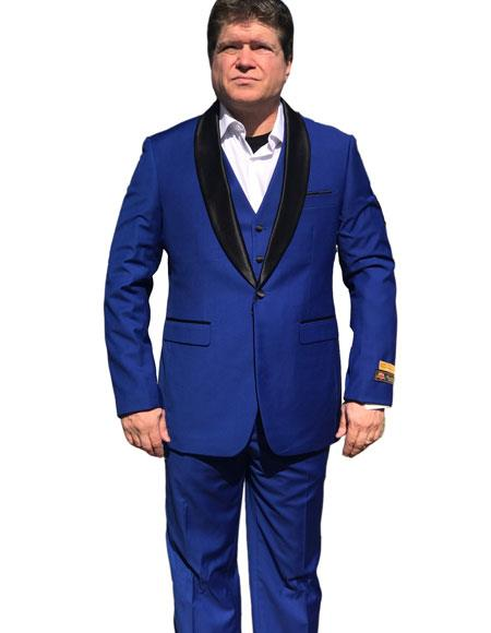Alberto Nardoni Men's Vested 1 Button Shawl Tuxedo in Royal Blue $199