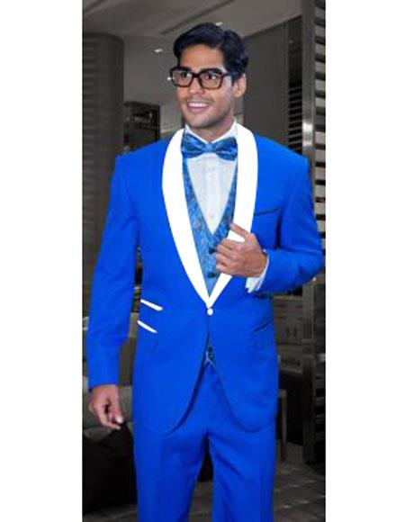 e2dbc44592e Mens 1 Button Single Breasted Modern Fit Royal Blue and White Lapel Tuxedo  Dress Suits for Men