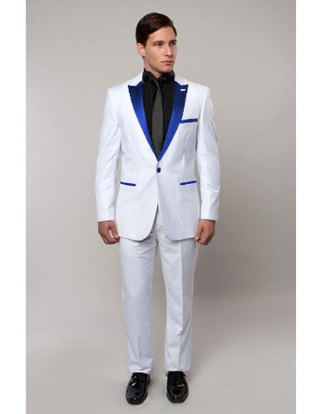 Slim Tux White with royal blue lapel