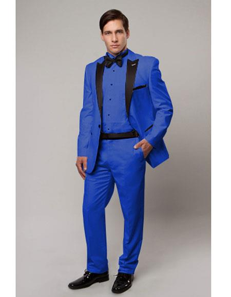 Slim Tux royal blue with black lapel