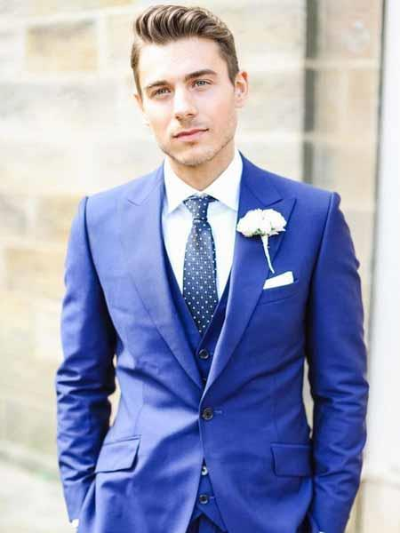 Mens 1 Button Slim Fit Vested Royal Blue Peak Lapel Single Breasted Groom Tuxedo