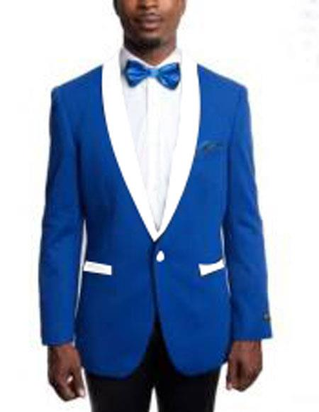 Mens 1 Button Slim Fit Royal Blue and White Lapel Tuxedo Dress Suits for Men