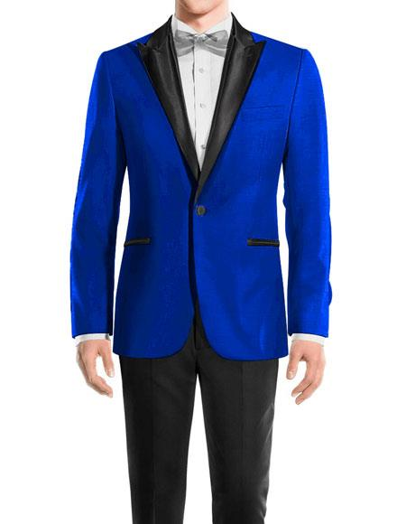 Men's Royal Blue One Button Peak Black Lapel Wool tuxedo