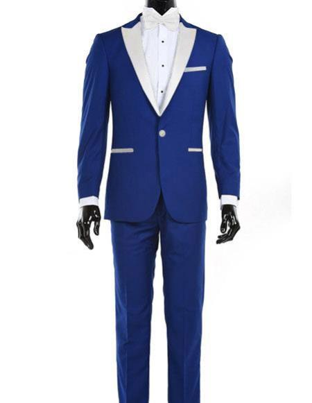Mens Royal Blue 1 Button  White Satin Lapel Tuxedo Dress Suits for Men