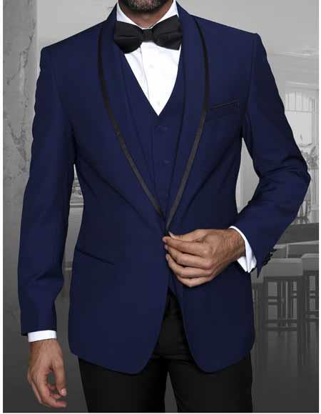 Men's Sapphire 1 Button Blazer Shawl Lapel With Trim Sport Coat Dinner Jacket With Trim