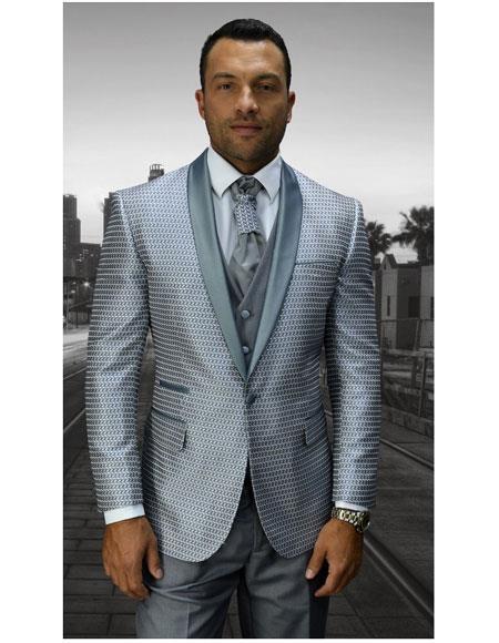 SKU#GD1108 Men's Statement Modern Fit Shiny Gray Fashion Tuxedo Flat Front Pants