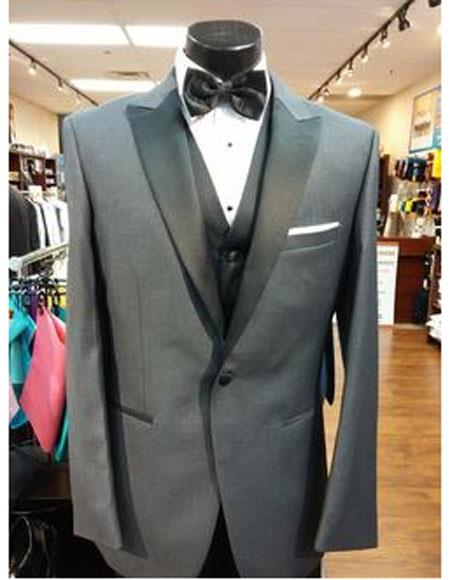 Men's Steel Grey 1 Button  Peak Lapel Suit