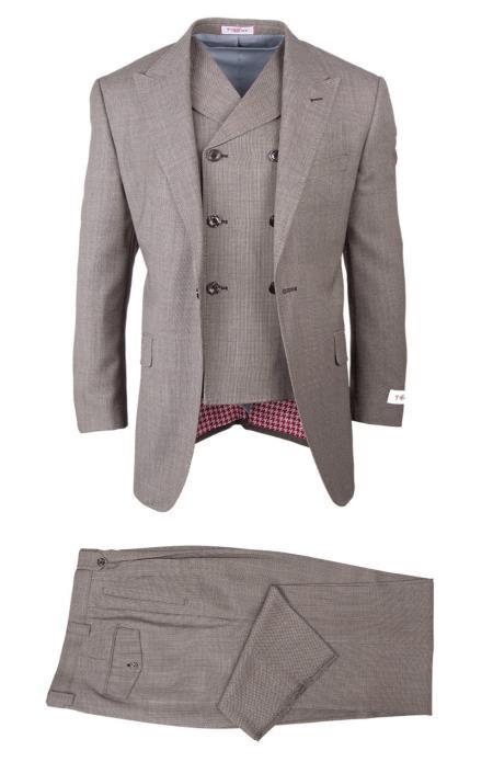 Buy SM4740 Tiglio brand Men's San Giovesse Tan Full Cut Rosso Birdseye Pattern Double Breasted Vest Suit