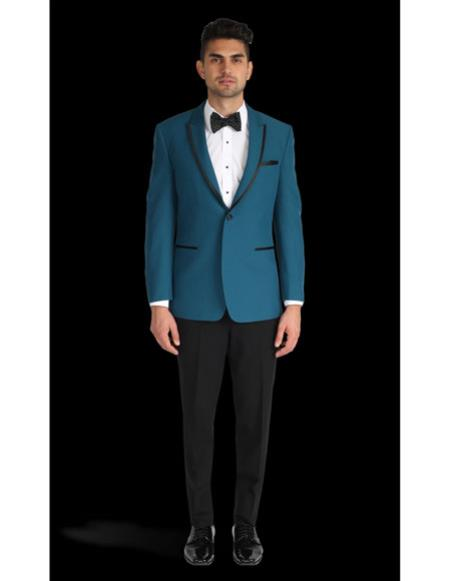 Mens One Button Tuxedo Trimmed Peak Lapel Slim Fit Teal  Blue ~  Suit  Tux