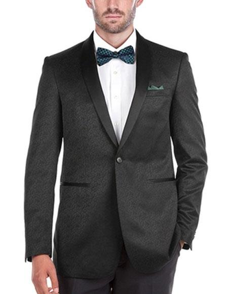 Mens Textured Slim Fit Tuxedo 1 Button Shawl Collar Side Vents Black Jacket