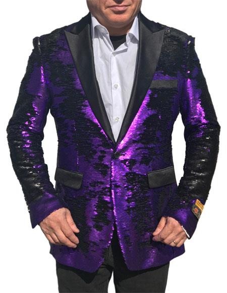 SKU#WTX_Sequin2 Fashion Alberto Nardoni Shiny Sequin Tuxedo Black Lapel