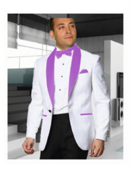 Buy SS-B102 Mens 1 Button White Tuxedo Lavender Shawl Lapel Dinner Jacket Blazer Sportcoat