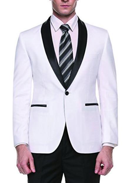 Alberto Nardoni Brand Mens White Slim Fit One Button Shawl Lapel Stylish Casual Coat Blazer