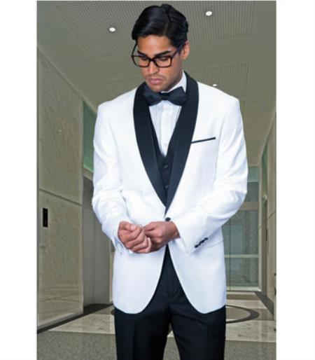 Shawl Collar Dinner Jacket 1 Button Blazer Sport coat Black Lapel White