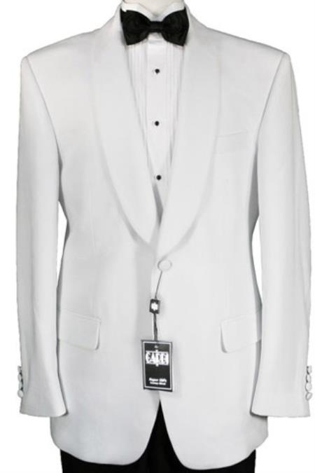 Mens One Button 100% Luxurious Microfiber Fabric White Dinner Jacket