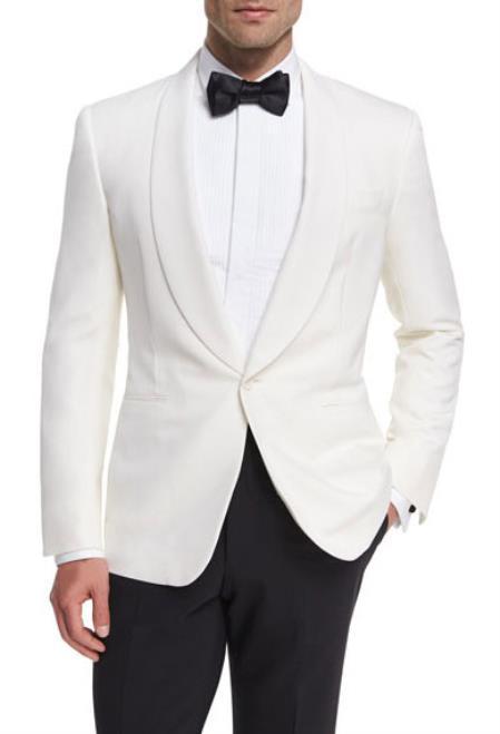 Alberto Nardoni Snow White Pure Wool Dinner Shawl Collar Jacket Blazer & Sport Coat
