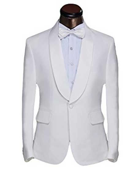 1960s Men's Clothing, 70s Men's Fashion Mens White Shawl Lapel 1 Button Classic Fit Dinner Jacket And Trouser Suit $139.00 AT vintagedancer.com