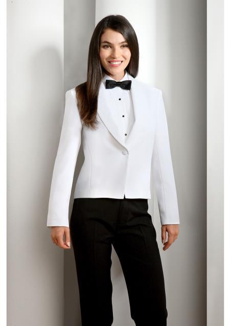 WoMen's White Solid Polyester 1 Button Shawl Lapel Tuxedo Jacket