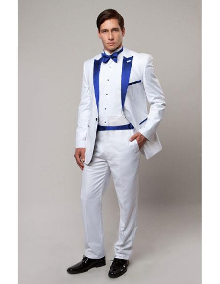 Slim Tux white with Royal Blue lapel