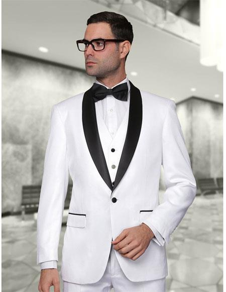Mens Statement Suits Clothing Confidence Single Breasted White Modern Fit 3 Piece Shawl Collar Tuxedo