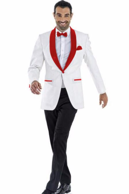 Mens 1 Button Shawl Lapel White and Hot Red Wedding / Prom Outfit Tuxedo Suit + White Pants & White Vest