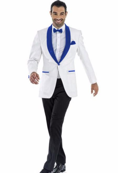 aa5ee5d2ea Men s Shawl Lapel 1 Button White And Royal Blue Wedding Tuxedo Suit
