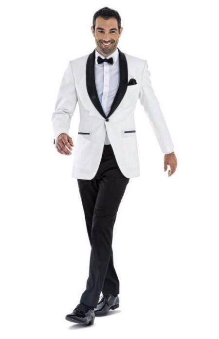 Mens 1 Button White Shawl Lapel  Wedding Tuxedo Suit