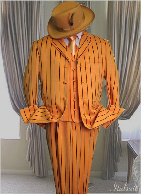 SKU#AL963 Orange~Rust With Black Stripe 3PC Wide Pinstripe Fashion Zoot Suit $175