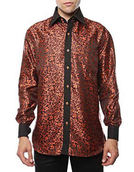 Shiny Satin Floral Spread Collar Paisley Dress Club Clubbing Clubwear Shirts Flashy Stage Colored Two Toned  Woven Casual Orange-Black Mens Dress Shirt