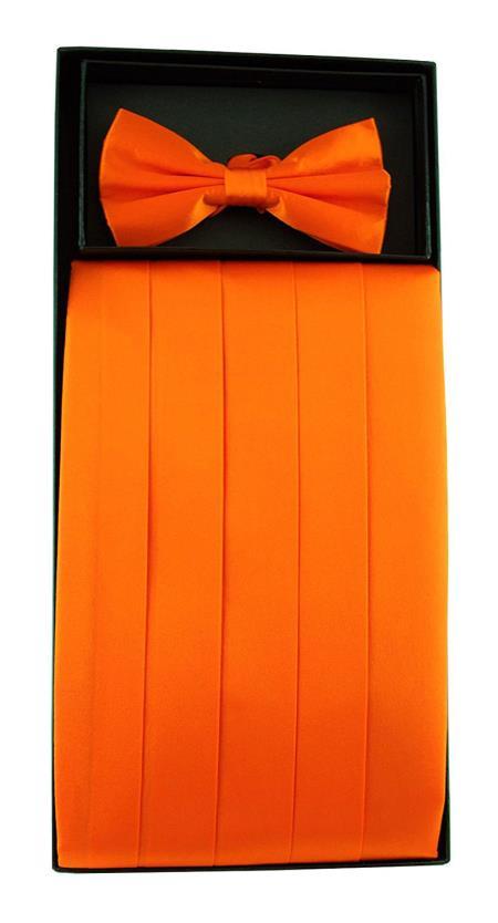 Mens Solid Orange 100% Pure Silk Bowtie & Matching Cummerbund